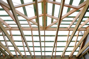Wooden roof frame, the roof structure.