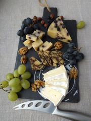 Cheeseboard. Brie cheese, seasoned in Porter cheese and cheese with blueberries