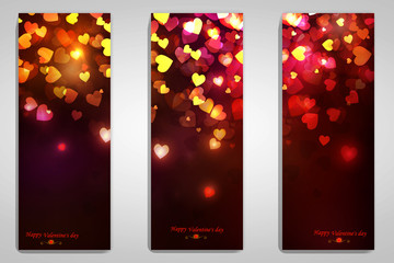 Beautiful greeting cards with Flying Shiny hearts. Valentine's day. Vector illustration