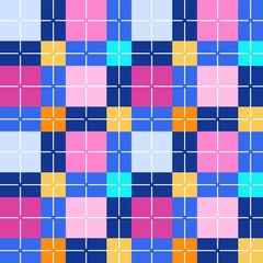 Squares seamless background, pink-blue, vector. Pink and yellow squares and blue rectangles. Colorful, geometric background. For the decoration.