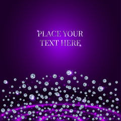Scattering Of Diamonds On Purple Background.