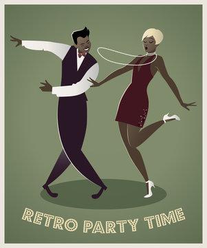 Funny afro american couple dancing charleston. Cartoon retro style