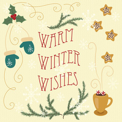 Warm winter wishes. Hand drawn greeting card. Eps 10