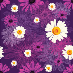 Seamless floral pattern with violet flowers and chamomiles on violet background