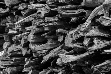 Chopped logs of wood