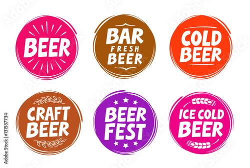 Fresh Craft Beer Brewery Symbol Vector Elements For Design Menu