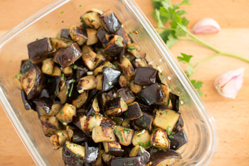 Diced eggplant with garlic and parsley