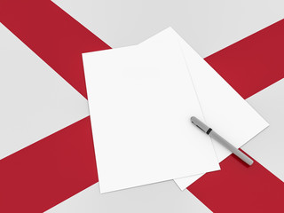 Blank Sheets of Paper With A Pen On Alabama Flag, 3d illustration