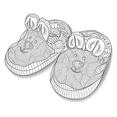 Doodle sketch of baby bootees in black and white zentangle design. Coloring book for adult older children. Hand drawn vector illustration.
