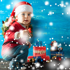 Canvas Prints Fairytale World Children in Christmas clothes and santa hat.