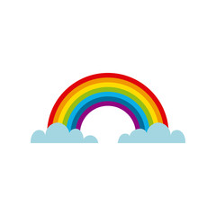 clouds and rainbow icon over white background. colorful design. vector illustration