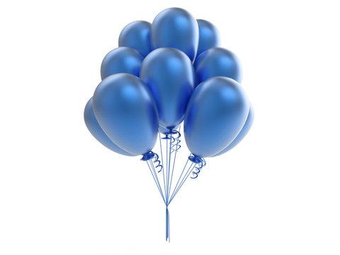 3D illustration blue balls balloons on a white background