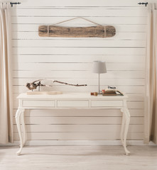 wooden wall desk and stool