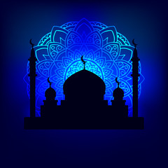 vector illustration silhouette of the Arab temple in the night sky illuminated pattern mandala moonlight