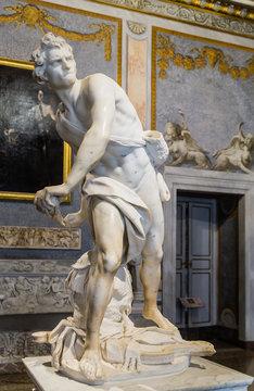 Marble sculpture David by Gian Lorenzo Bernini in Galleria Borghese