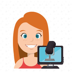 woman cartoon speak microphone screen pc vector illustration