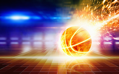 Abstract sports background - burning basketball