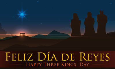 Beauty View of Jesus' Birth Place with the Three Magi, Vector Illustration