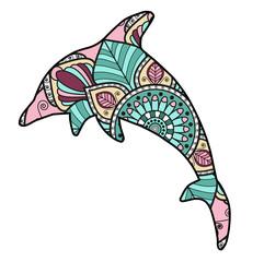 Vector illustration of colored dolphin mandala, delfino mandala colorato vettoriale