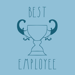 card template. phrase best employee. hand drawn letters