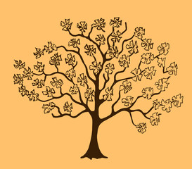 Sketch of a flowering tree. Hand-drawn style
