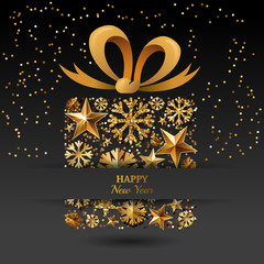 New Year vector greeting card template. Gift box with 3d gold stars, snowflakes and bow ribbon. Winter holiday golden illustration. Design for for banner, party invitation, flyer for gift shop.