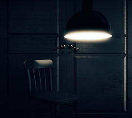 Room with chair and lamp