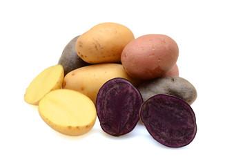 Mixed varieties of potatoes: red potatoes, yellow potatoes and purple potatoes