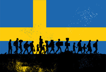 Silhouette of refugees people walking with flag of Sweden as a background
