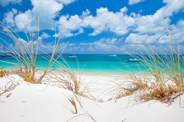 Beautiful blue water of Whitehaven Beach in the Whitsundays