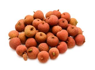Fresh lychees fruit isolated on white background