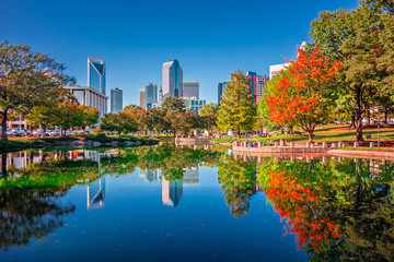 charlotte city skyline from marshall park autumn season with blu