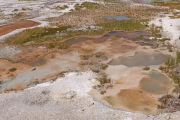 Colorful Pools in a Geyser Basin
