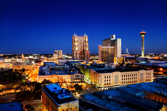 San Antonio downtown just after sunset showing skyline around Tower of the Americas & city lights
