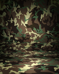 Camouflage studio portrait backdrop with floor. 3d rendering