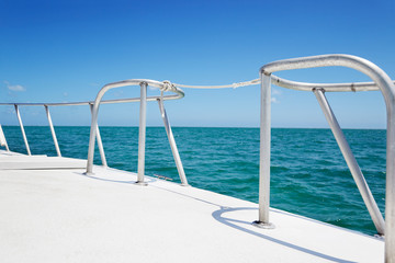 Boat railings and warm tropical waters, Grand Cayman