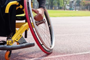 Detail image of wheelchair race on track,wheelchair race