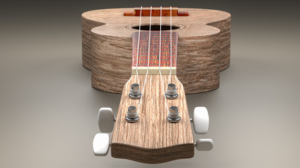 3D rendering Of Ukulele on floor