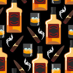 Whiskey with ice seamless pattern. Gentleman background. Bottle
