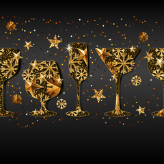 Winter holiday vector black background with gold drinking glasses. Golden stars, snowflakes in wine, champagne, martini, glass. New Year banner design, greeting card, poster, flyer, party invitation.
