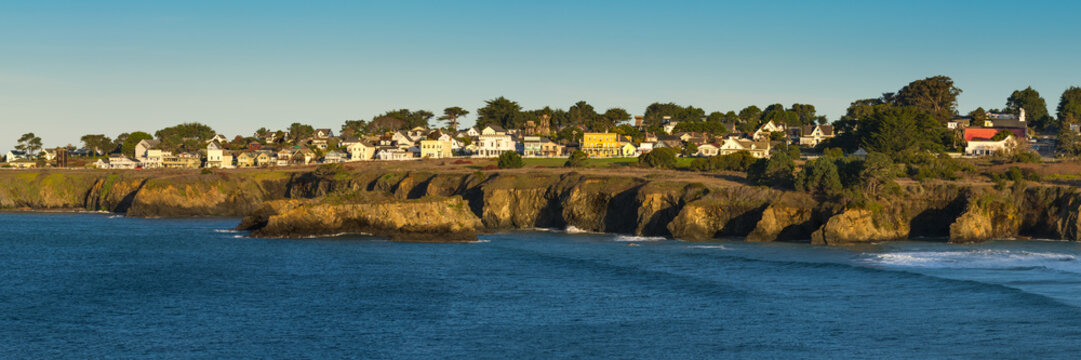 Panorama of the town Mendocino. An historic town on the northern California coast popular  with tourists.