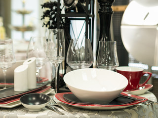 Set of dishes on table