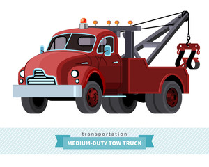 Classic medium duty tow truck front side view