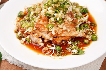 yuringi, Fried Chicken with Hot and Sour Soy Sauce,ユリンギ