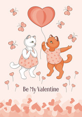Greeting card happy Valentine's day. Cartoon image of cute funny kittens, butterflies and flowers in form of hearts.
