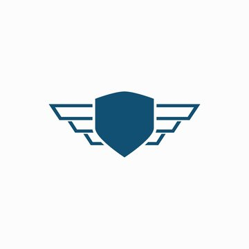 Shield with wings logo design