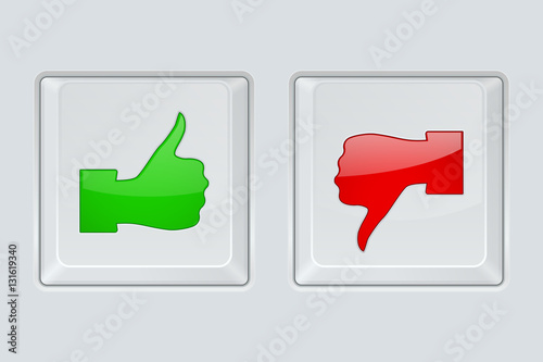 Thumbs Up And Down Green And Red Symbol On Gray Square Button