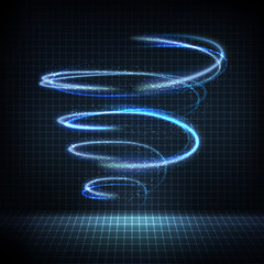 Technology digital background. Glowing swirl with distorted lines, bright sparkles. Vector illustration
