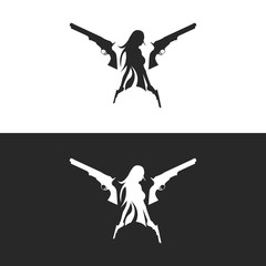Girl with Gun Silhouette Logo. Isolated.