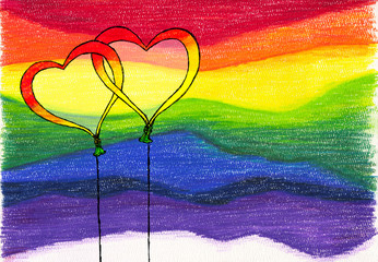 Sketchily drawn Intertwined heart shaped balloons on rainbow colored pencil background